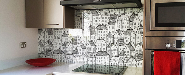 Photographic images on kitchen splashbacks